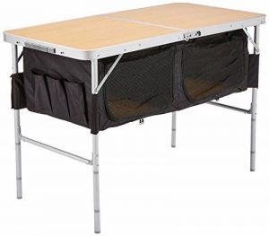 10T Portable Box Table de camping pliant Argent/Noir/Bois 120 x 60 x 68 cm de la marque 10T image 0 produit