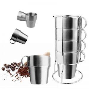 A-SZCXTOP Set de 4 tasses à café en acier inoxydable Double-couche isolée tasses à café avec un support et un sac ... de la marque A-SZCXTOP image 0 produit