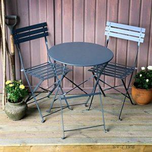 Alessia ensemble bistrot - GRIS | Table pliante noire avec chaises assorties de la marque Lazy Susan image 0 produit