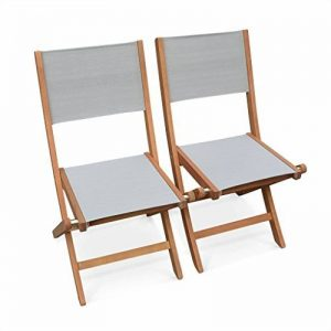 Alice's Garden - Chaises de jardin en bois et textilène - Almeria Gris taupe - 2 chaises pliantes en bois d'Eucalyptus FSC huilé et textilène de la marque Alice's Garden image 0 produit