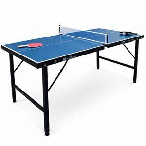 Alice's Garden - Mini table de ping pong 150x75cm - table pliable INDOOR bleue, avec 2 raquettes et 3 balles, valise de jeu pour utilisation intérieure, sport tennis de table de la marque Alice's Garden image 0 produit