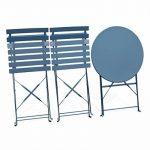 Alice's Garden Salon de jardin bistrot pliable - Emilia rond bleu grisé - Table ronde Ø60cm avec deux chaises pliantes, acier thermolaqué, chaises avec lames incurvées de la marque Alice's Garden image 4 produit