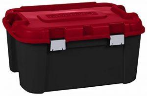 ALLIBERT 229230 Totem Malle de Rangement avec 4 Roulettes Noir/Rouge Plastique 79,7 x 59,7 x 40,79 cm 140 L de la marque ALLIBERT image 0 produit