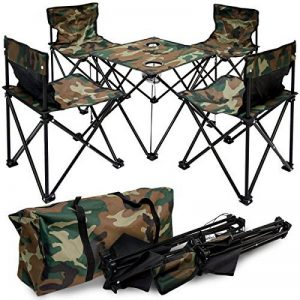AMANKA Table de Camping + 4 Chaises + Sac de Transport 60x22x24cm | pliant léger petit portable | pour pique-nique festival grillade randonnée pêche parc | Camouflage Vert de la marque AMANKA image 0 produit