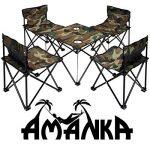 AMANKA Table de Camping + 4 Chaises + Sac de Transport 60x22x24cm | pliant léger petit portable | pour pique-nique festival grillade randonnée pêche parc | Camouflage Vert de la marque AMANKA image 1 produit