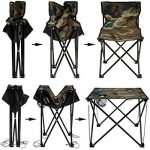 AMANKA Table de Camping + 4 Chaises + Sac de Transport 60x22x24cm | pliant léger petit portable | pour pique-nique festival grillade randonnée pêche parc | Camouflage Vert de la marque AMANKA image 2 produit