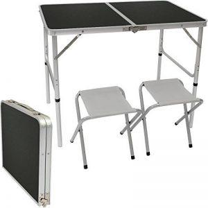 AMANKA Table de Camping 90x60cm + 2 Tabourets portable 4kg pliant en mallette pour pique-nique plage jardin réglable en hauteur en aluminium Gris de la marque AMANKA image 0 produit