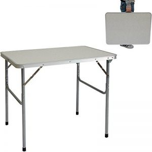 AMANKA Table de camping pique-nique foire aux puces 80x60x70cm en acier 3Kg pliant format mallette Gris Clair de la marque AMANKA image 0 produit