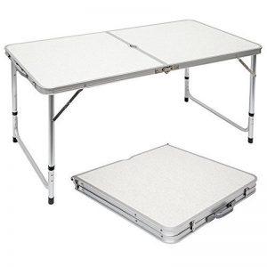 AMANKA Table de camping pique-nique pliable réglable en hauteur 120x60x70cm en aluminium pliant format mallette Gris Clair de la marque AMANKA image 0 produit
