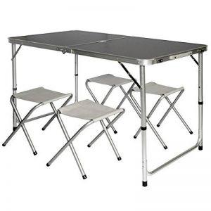 AMANKA Table de Camping pliable réglable en hauteur 120x60x70cm incl 4 Tabourets pliants format mallette Gris Foncé de la marque AMANKA image 0 produit