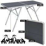 AMANKA Table Pliante 120x60x70cm meuble de camping pique-nique portable stable châssis en alu plateau en MDF Anthracite de la marque AMANKA image 1 produit