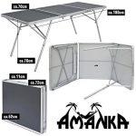 AMANKA Table Pliante XXL 180x70x70cm meuble de camping pique-nique portable stable châssis en alu plateau en MDF Anthracite de la marque AMANKA image 1 produit