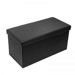 AMOIU Ottoman de Rangement Pliable Coffre Cube de Repose-Pieds Tabouret de Café (Noir - Simili Cuir, 76cm x 38cm x 38cm) de la marque Amoiu image 0 produit