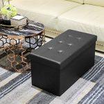 AMOIU Taille Grande 76cm Ottoman de Rangement Pliable Coffre Cube de Repose-Pieds Tabouret de Café Banc d'Éponge Confortable, Simili Cuir, Noir de la marque Amoiu image 4 produit