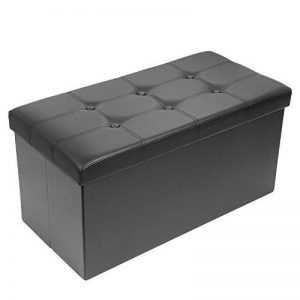 AMOIU Taille Grande 76cm Ottoman de Rangement Pliable Coffre Cube de Repose-Pieds Tabouret de Café Banc d'Éponge Confortable, Simili Cuir, Noir de la marque Amoiu image 0 produit