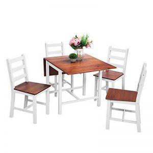 Anaelle Panana Ensemble Table Pliante en Bois + 4 Chaises pour Salle à Manger, Cuisine, Séjour, Café, Poids:26kg (Brun+Blanc) de la marque Anaelle Panana image 0 produit