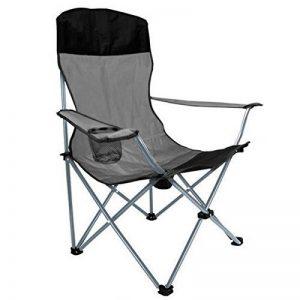 Anaterra Chaise de camping chaise pliante, pêcheur Chaise avec accoudoirs et porte-gobelet et dossier haut Noir Gris de la marque Anaterra image 0 produit