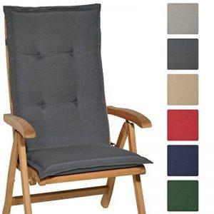 Beautissu Matelas Coussin pour chaise fauteuil de jardin terrasse Loft HL 120x50x6cm - dossier haut - Gris graphite de la marque Beautissu image 0 produit