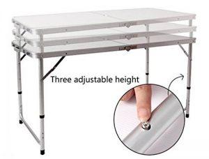 Befied Table de Camping Pliable Hauteur Réglable Tables de Pique-nique-120 x 60 x 69cm de la marque Befied image 0 produit