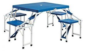 BERTONI Pique-nique Jumbo Lusso Abs Bleu Table et 4 chaises pliables en une valise unique, Bleu, Taille unique de la marque BERTONI image 0 produit