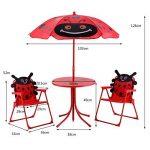 Blitzzauber24 Ensemble 2 Chaises et 1 Table pour enfant avec parasol ajustable camping extérieur terrasse balcon Rouge de la marque Blitzzauber24 image 3 produit