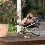 Blumfeldt Chilly Billy Chaise longue de jardin (avec accoudoirs, transat avec cadre en aluminium, effet bascule et arrêt sécurité, supporte jusqu'à 180kg) - noir de la marque Blumfeldt image 6 produit