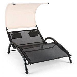 Blumfeldt Dandyland - Double transat à bascule / Chaise longue pour deux avec auvent (130x200 cm, acier solide, oreillers inclus) - noir / crème de la marque Blumfeldt image 0 produit