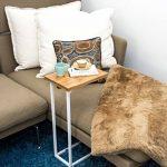 BonVIVO® Table d'appoint DONNA moderne - Acier inoxydable et bois naturel avec châssis en acier inoxydable blanc de la marque BonVivo image 1 produit