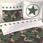 Camouflage Parure de couette d'été - & Army Trend Kaki Militaire, vert, Olive - étoiles, Stras & Camo - Taie d'oreiller 80 x 80 + housse de couette 135 x 200 cm - 100% coton en coton renforcé de la marque MTOnlinehandel image 1 produit