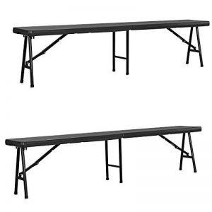 [casa.pro] 2x banquettes banc de camping (183 x 30 x 44 cm) (gris - noir) résistant aux UV / étanche / banc de terrasse de la marque [casa.pro]® image 0 produit