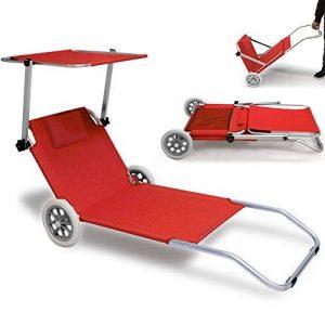 Chaise longue de plage transat pare-soleil pliable 2 roues robuste rouge jardin camping terrasse de la marque Deuba image 0 produit