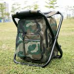 Chaise pliante de refroidisseur de sac à dos - tabouret portatif de camping avec le sac isolé de pique-nique - sac de Tableau de Seat de camouflage Équipement de camping pour le voyage extérieur, la randonnée, la pêche, la plage, le BBQ, la maison et la s image 1 produit