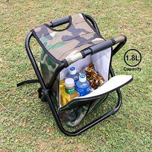 Chaise pliante de refroidisseur de sac à dos - tabouret portatif de camping avec le sac isolé de pique-nique - sac de Tableau de Seat de camouflage Équipement de camping pour le voyage extérieur, la randonnée, la pêche, la plage, le BBQ, la maison et la s image 0 produit