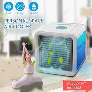 Climatiseur Portable - Ventilateur USB Muitifonction 3 EN 1Mini Climatiseur Humidificateur Purificateur 7 LED Couleurs pour Maison /Bureau /Camping de la marque GESUNDHOME image 0 produit