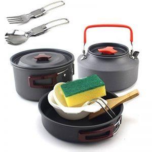 Combinaison portable de haute qualité, pot pot, combiné portable camping cuisinière barbecue extérieur 2-3 personne,2 à 3 personnes avec 1,1 litres de théière avec cuillère fourchette pliable de la marque WITREE-Z image 0 produit