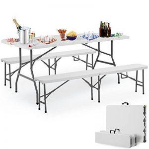 Deuba - 990010 - Ensemble Table bancs 3 pièces camping pliable 180cm - table buffet banc jardin - Blanc de la marque Deuba image 0 produit