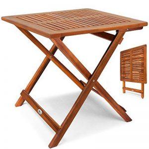 Deuba Table d'appoint pliable en bois d'acacia, table pour camping jardin 70x70x73cm de la marque Deuba image 0 produit