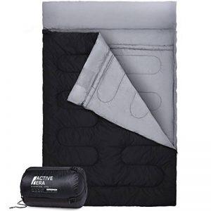 Double Sac de Couchage - Taille XL - Se convertit en 2 lits simples - 3 saisons pour le camping, la randonnée et les activités extérieures de la marque Active Era image 0 produit