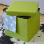 DuneDesign Pouf 38cm avec coffre de rangement 42L Repose-pieds en forme de cube avec couvercle rembourré Bouts de canapé pliant Tabouret Vert Tilleul de la marque DuneDesign image 3 produit