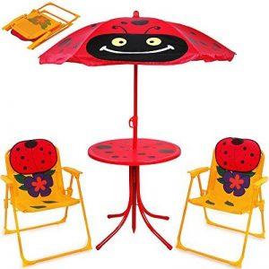 Ensemble 2 Chaises et 1 Table pour enfant avec parasol ajustable camping extérieur terrasse balcon de la marque Deuba image 0 produit