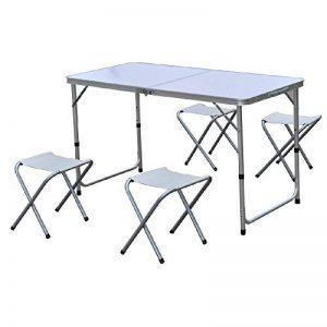 Ensemble de 5 pièces en aluminium : Table pliante + 4 tabourets - Coloris BLANC de la marque FARNIENTE image 0 produit