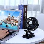 Fanzhou Petit Ventilateur Clip Silencieux Ventilateur de Table 3 Vitesses Réglables Electrique Ventilateur a Pile USB Rechargeable Rotation à 360° pour Poussette, Voiture, Camping, bureau,mobile,etc. de la marque Fanzhou image 6 produit