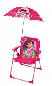 FUN HOUSE 712204 Dora Chaise Pliante avec Parasol pour Enfant Acier Rose 38 x 8 x 50 cm de la marque FUN HOUSE image 0 produit