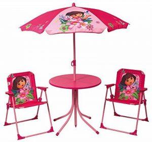FUN HOUSE Dora Set de jardin : 1 table ronde + 2 chaises + 1 parasol Taille 37 x 25 x 27, 46 x diamètre 46, 1,25 x diamètre 100 cm de la marque FUN HOUSE image 0 produit