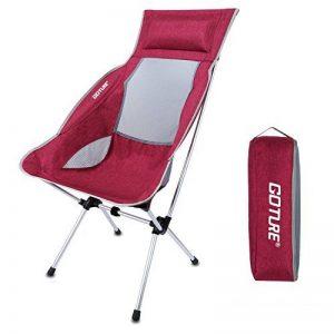 Goture Chaise pliante portable Super léger Haut dossier avec sac de transport pour la randonnée, le camping, les activités en extérieur (contenir jusqu'à 149,7kilogram) de la marque Goture image 0 produit