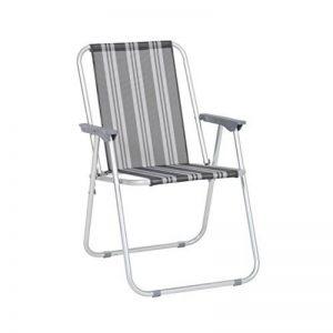 greemotion Chaise pliante de jardin Texel – Chaise pliable de plage– Chaise pliable de camping – Chaise de plage grise à rayures – Chaise avec accoudoir en aluminium, textilène et plastique de la marque greemotion image 0 produit