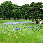 HOMFA Table de Camping Portable Table Buffet Traiteur Pliante en Hauteur Réglable Table de Pique-nique (1.8M (Avec 6 Chaises), Bleu) de la marque Homfa image 6 produit