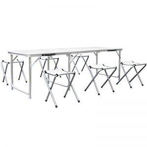 HOMFA Table de Camping Portable Table Buffet Traiteur Pliante Hauteur Réglable Table de Pique-nique (1.8M (Avec 6 Chaises), Blanc) de la marque Homfa image 0 produit