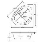 HUDSON REED Baignoire d'Angle 120X120CM - Acrylique Blanc de la marque HUDSON REED image 4 produit