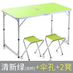 JJTLZY Table PlianteTable pliante solide Table pliante extérieure Chaises de salle à manger des ménages Table pliante en alliage d'aluminium Portable,Double pôle avec parapluie trou 2 tabouret de la marque JJTLZY image 0 produit